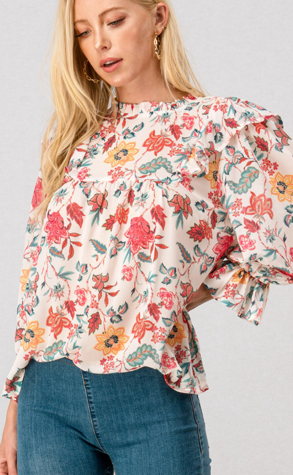 Floral Pleated Blouse - Jori & June