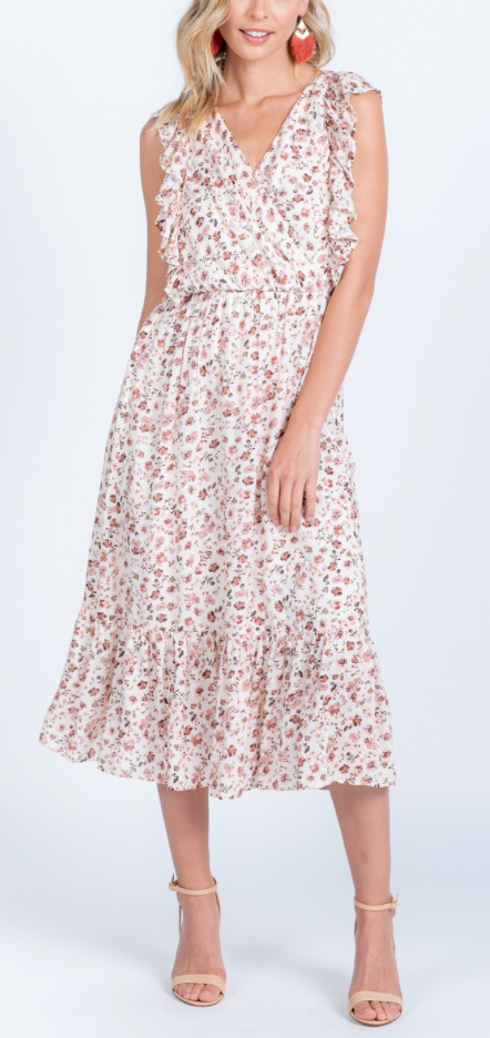 Floral Ruffle Midi Dress - Jori & June
