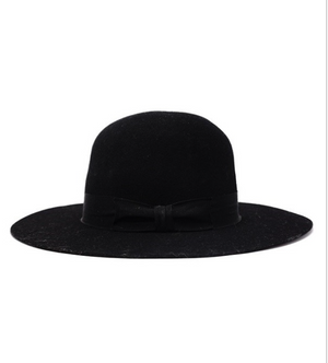 Stiff Brim Wool Felt Bowler Hat - Black - Jori & June