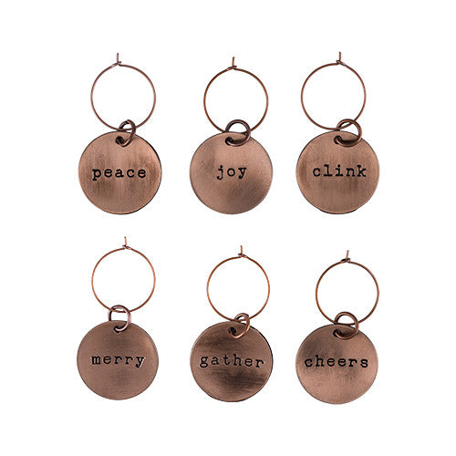 Rustic Holiday: Brushed Copper Wine Charms - Jori & June