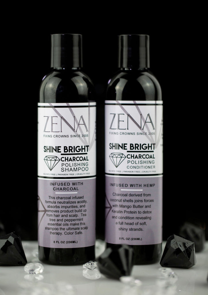 ZENA Shine Bright Charcoal infused shampoo & conditioner