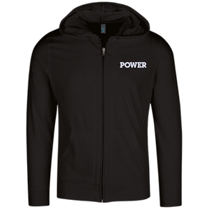 Power White Lightweight Full Zip Hoodie