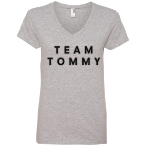 Team Tommy Black Ladies' V-Neck Tee
