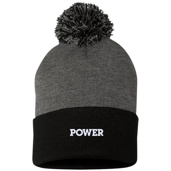 Power White Sportsman Pom Pom Knit Cap