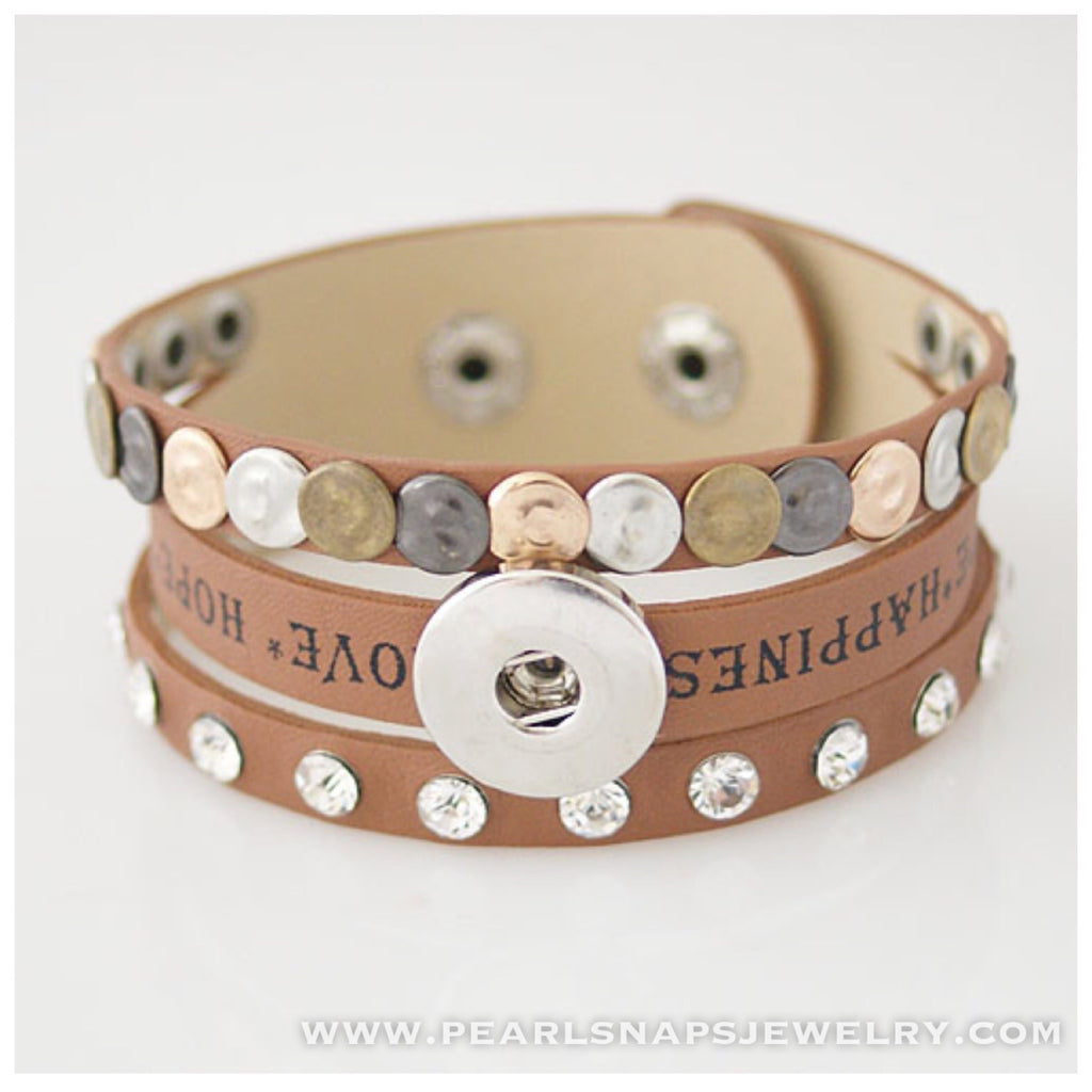 Happiness Leather Bracelet Cuff