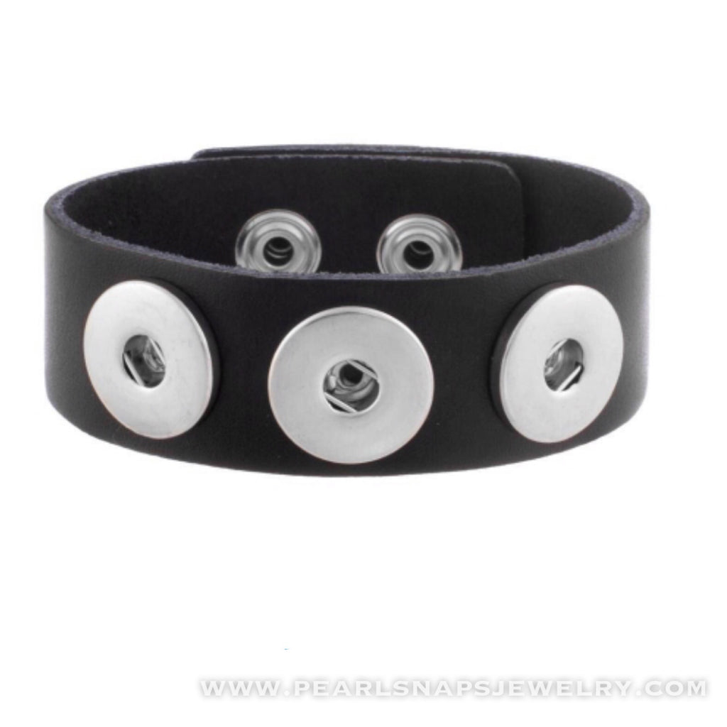 Classic Leather Triple Snap Cuff Black