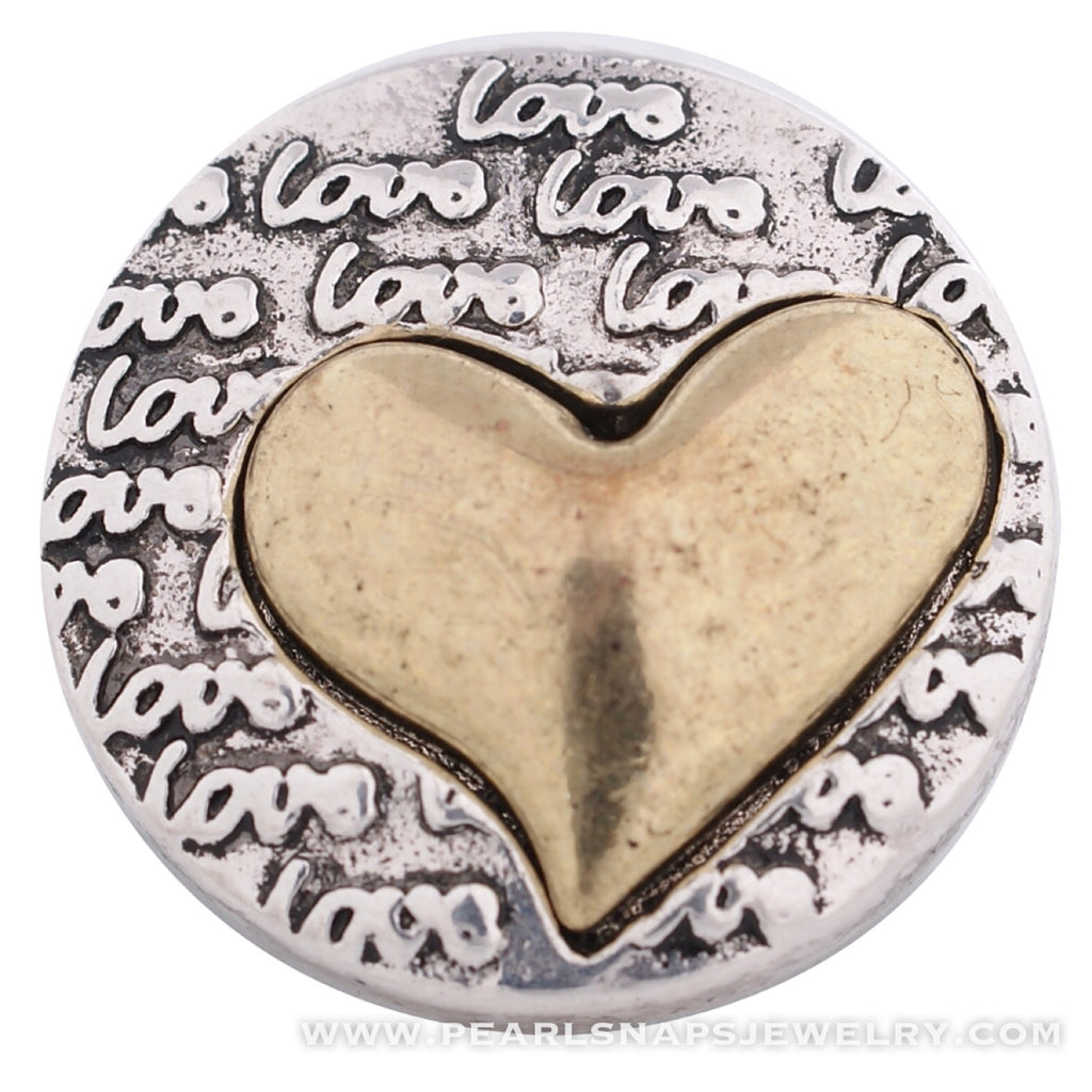 More than Words Love Heart Snap Gold