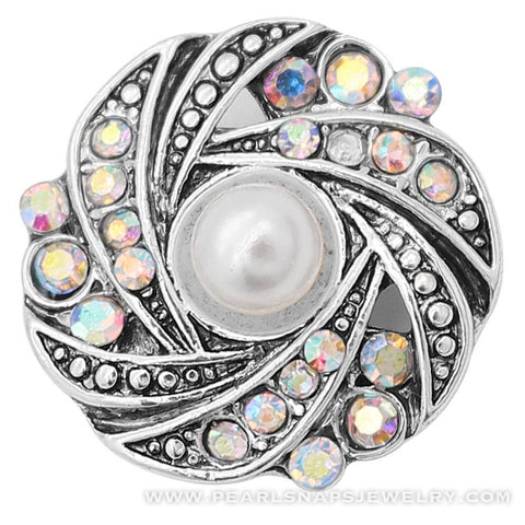 Pearl Kaleidoscope Jewel Snap Ivory White