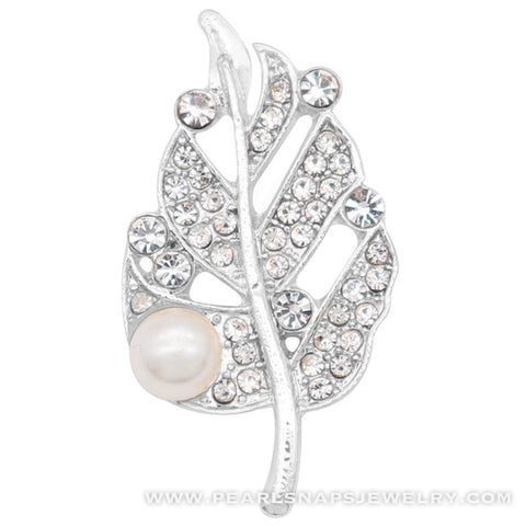 Pearl Leaf Jewel Snap White