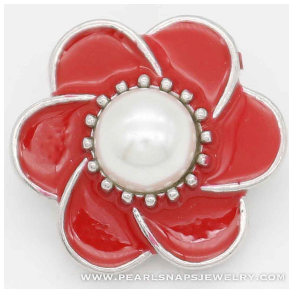 Phaedra Enamel Pearl Flower Snap RED