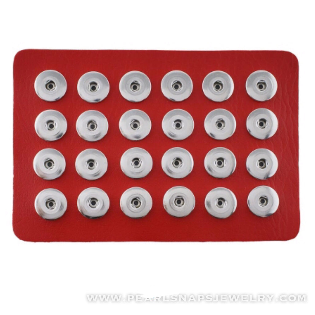 24 Snap Holder Storage Faux Leather RED
