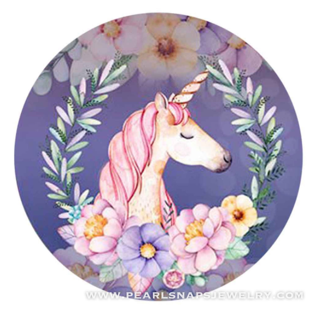 Dreamy Unicorn Painted Ceramic Snap Purple Pink