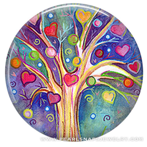 Family Tree Love Painted Ceramic Snap Purple