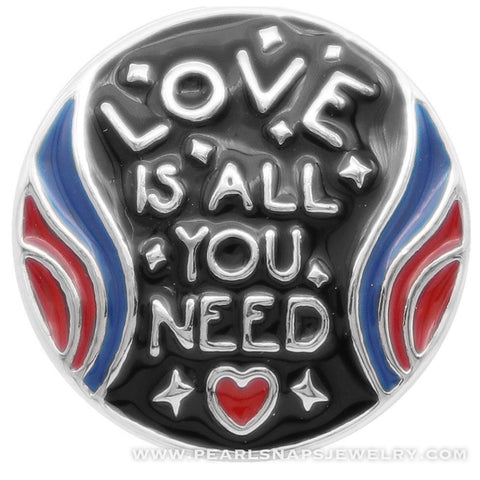 Love is all you need Enamel Snap Black Red