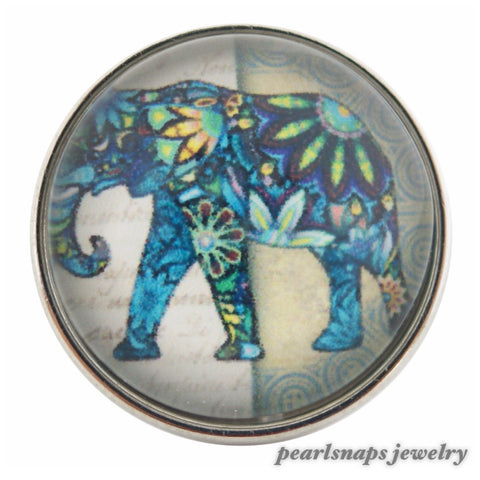 Indie Elephant Painted Ceramic Snap Turquoise