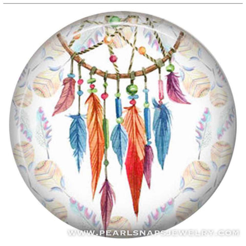 Native Gypsy Dreamcatcher Ceramic Snap Turquoise White