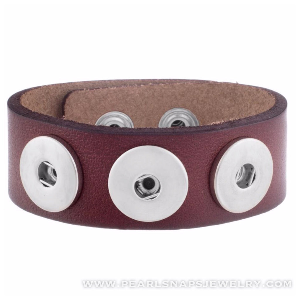 Classic Leather Triple Snap Cuff BROWN