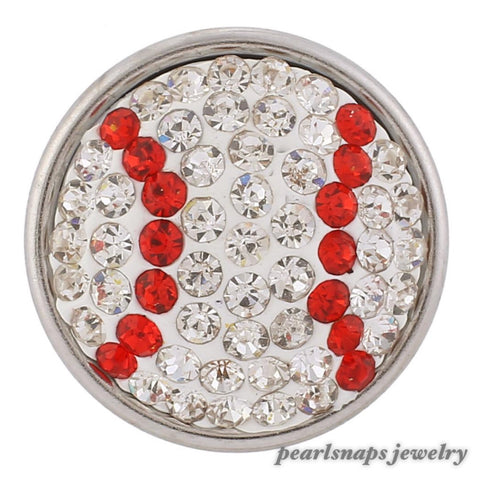 Sports Baseball White Bling Snap