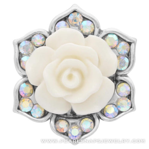 Jeweled Rose Floral Snap Ivory White
