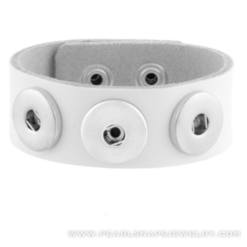 Classic Leather Triple Snap Cuff White