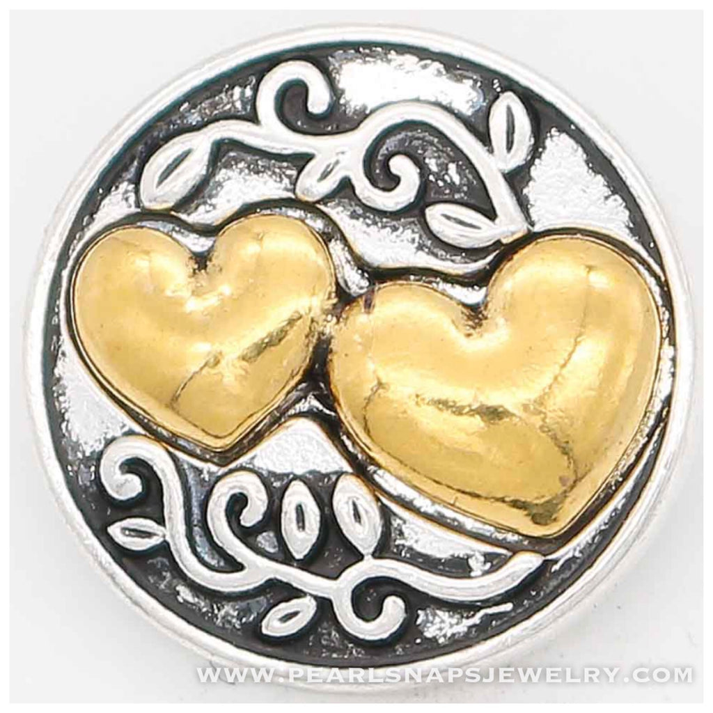 Endless Love Mixed Metal Heart  Snap