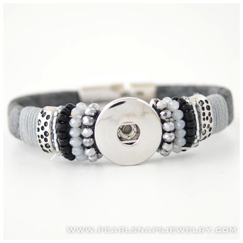 Weston Black Beaded Snap Bracelet