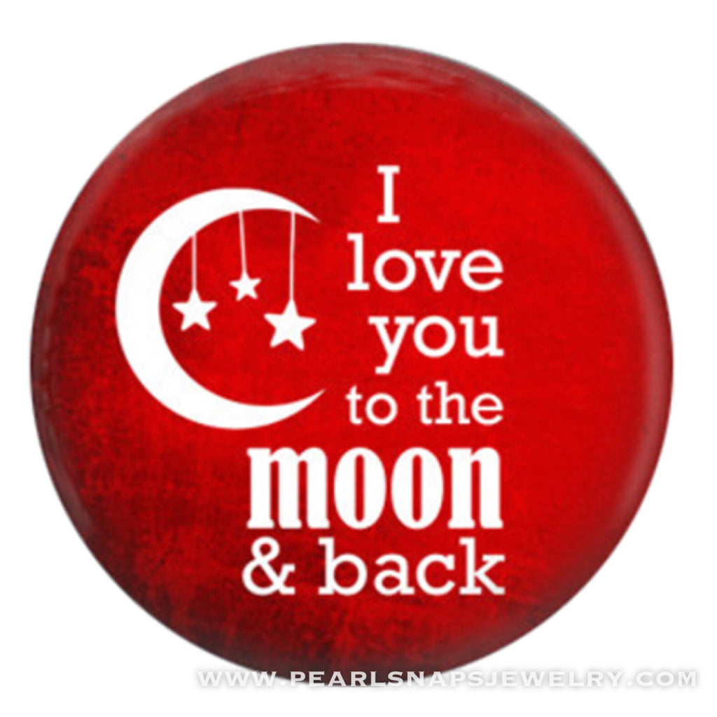 Love you to the moon Painted Ceramic Snap Red