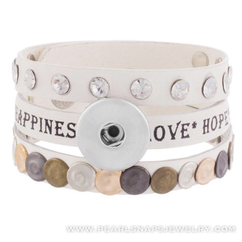 Happiness Leather Cuff with Studs WHITE