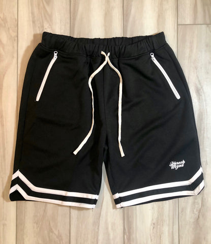 PHRESH MYNT™️ RETRO SHORTS W/ ZIPPER - BLACK W/ WHT