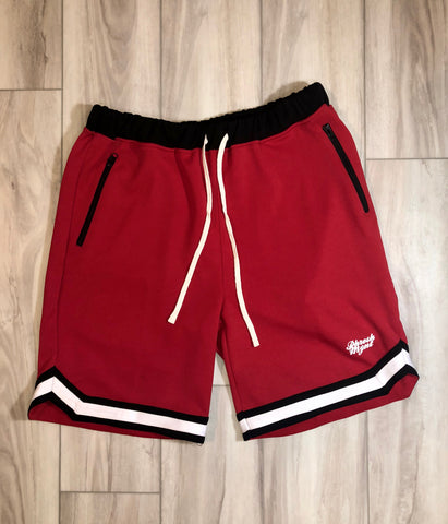 PHRESH MYNT™️ RETRO SHORTS W/ ZIPPER - RED W/ WHT/BLK