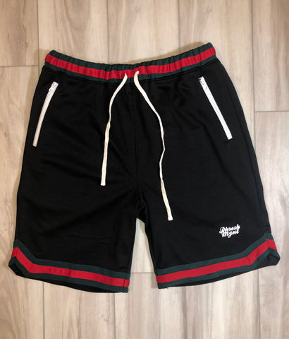 PHRESH MYNT™️ RETRO SHORTS W/ ZIPPER - Black W/ RED/GRN
