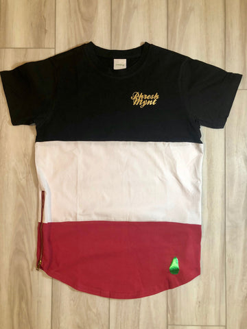Tri Color Tee W/ Gold Side Zipper