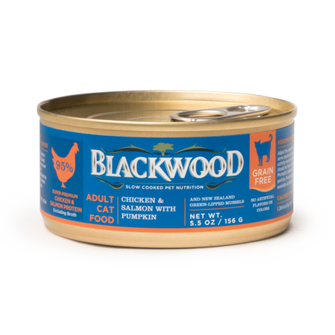 Blackwood Adult Cat Food, Grain Free, Chicken & Salmon with Pumpkin Canned Recipe