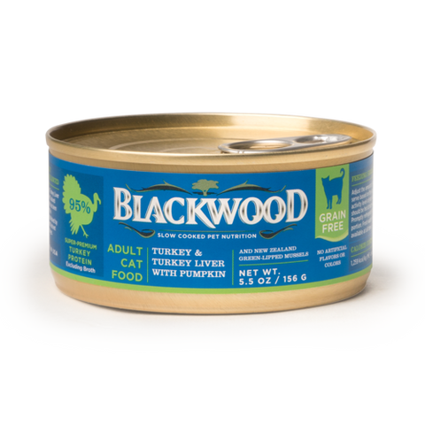Blackwood Adult Cat Food, Grain Free, Turkey & Turkey Liver with Pumpkin Canned Recipe