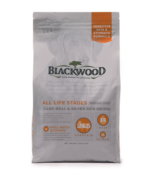 Blackwood All Life Stages Dog, Special Diet, Sensitive Skin, Lamb Meal & Brown Rice Recipe