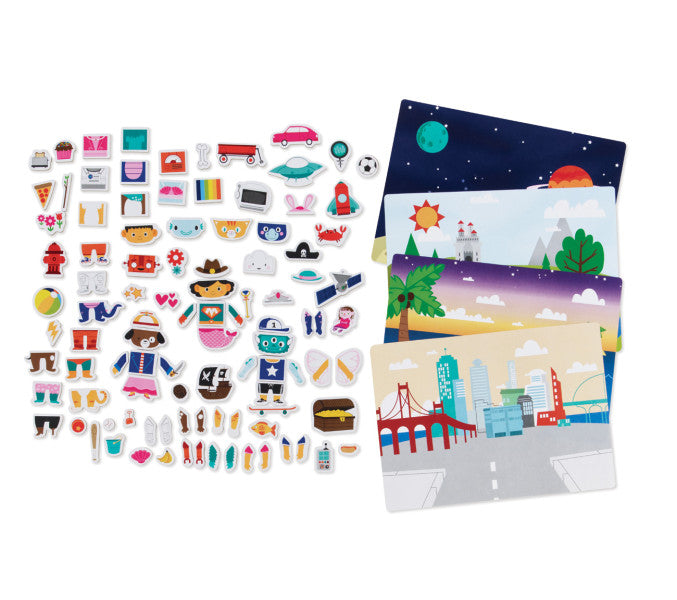 imagine i CAN™ Character Mix-Up Description: Create endless characters and creatures with this magnetic play set. Includes 101 magnetic pieces and 4 paper background scenes. Place a background scene on inside of tin, then place magnetic pieces on scene to create and play. Tin case with handle allows for easy storage and portability.