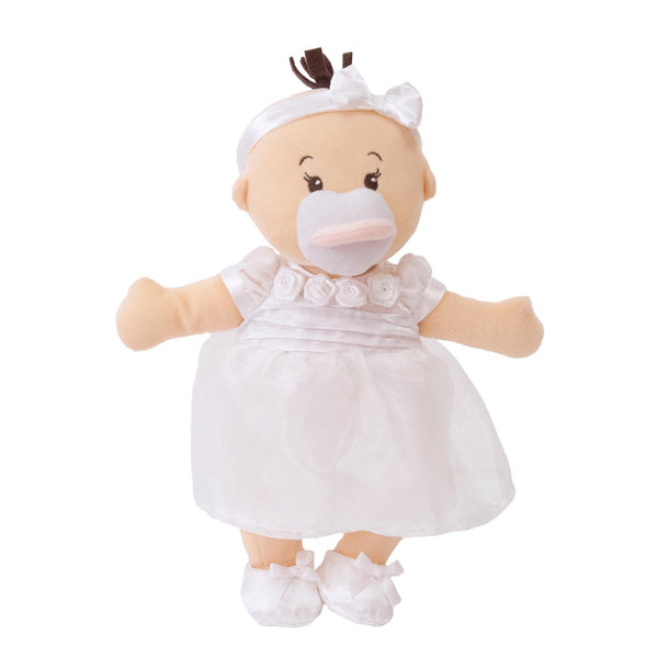 Wee Baby stella Soft Baby Doll In White Dress