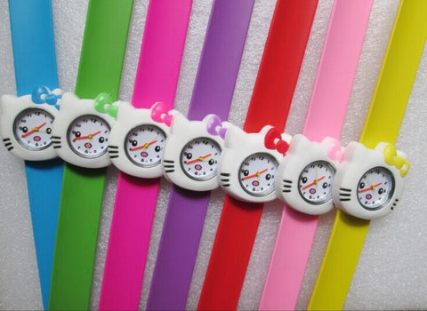 New Fashion Designer Sports Brand Hello Kitty Silicone Jelly Quartz Watch For Girls
