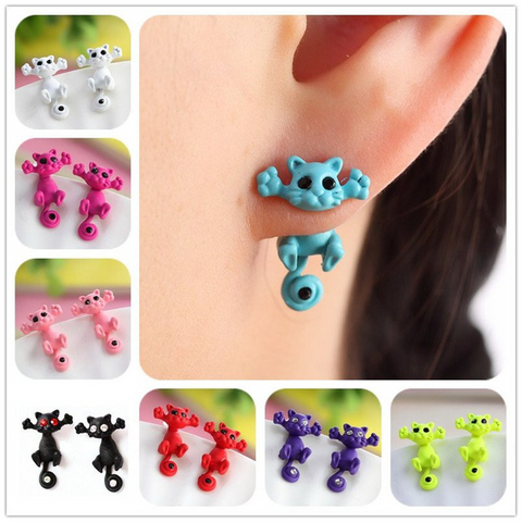 Colorful 3D Black Eye Cute Small Cat Stud Earrings