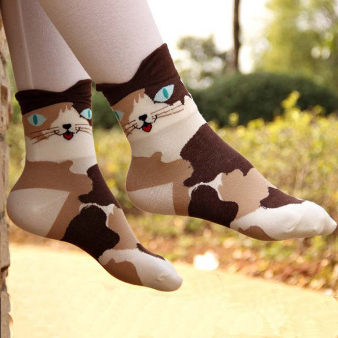 Funny Cartoon Cat Cotton Socks For Women