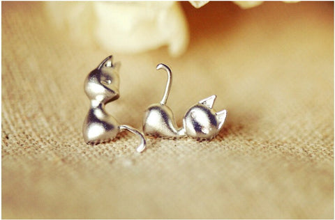 New Arrival Cute Silver Stud Cat Earrings For Women