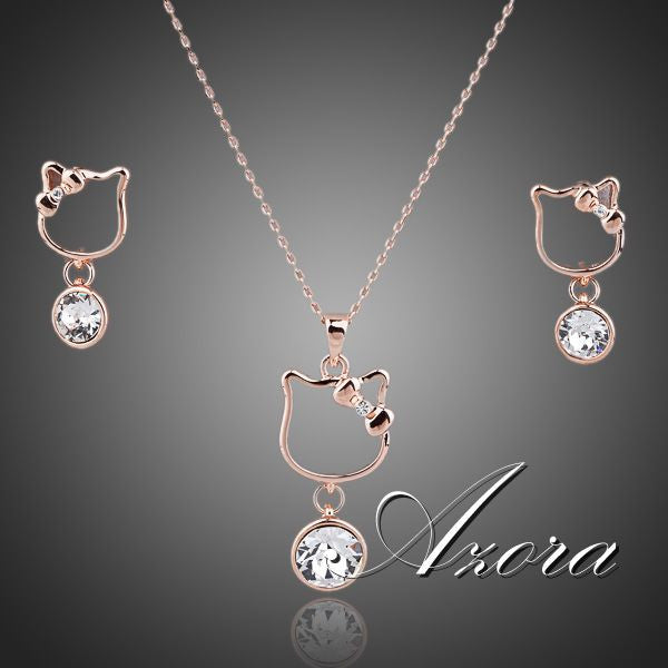 AZORA Lovely Rose Gold Plated Clear Stellux Austrian Crystal Drop Earrings & Necklace Set For Women