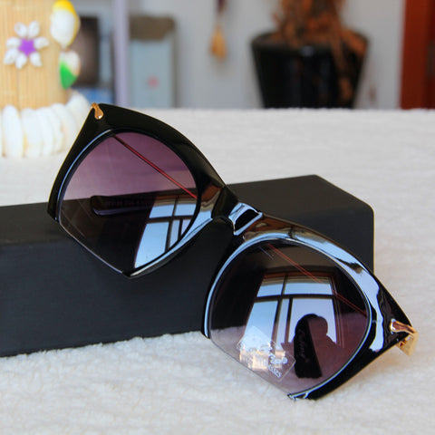 Vintage Semi-Rimless Cat Eye Sunglasses For Women