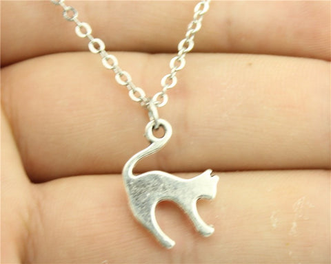Simple Vintage Antique Silver | Bronze Colour Cute Cat Necklace