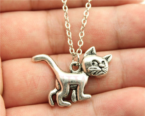 Vintage Antique Silver | Bronze Colour Cute Cat Pendant Necklace