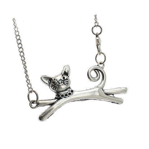 2015 New Vintage Silver Cute Cat Pendant Long Necklace For Women