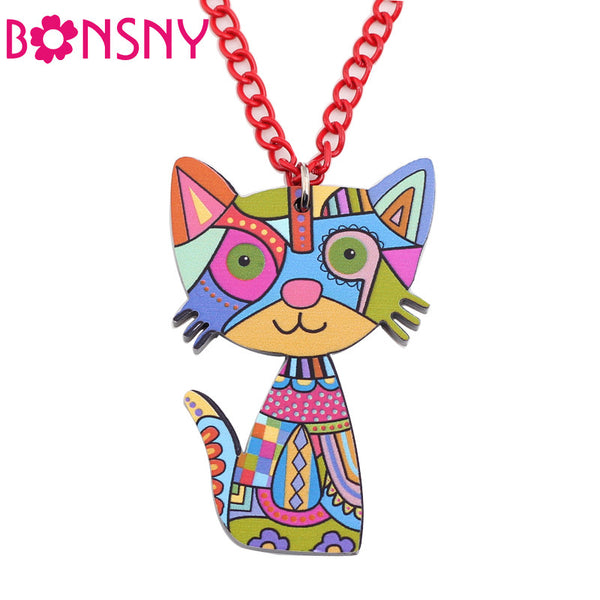 Bonsny Acrylic Colourful Cat Large Pendant Chain Necklace
