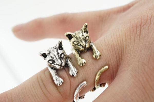 2016 Antique Silver | Bronze Plated Cat Ring For Women