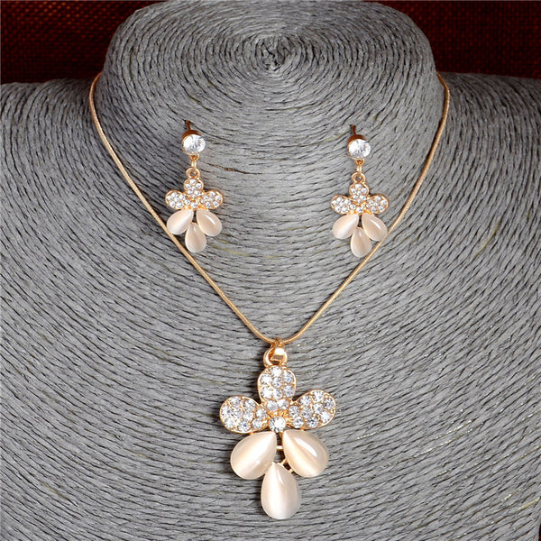 2016 New Austrian Crystal Cat Eye Stone Leaves Jewelry Set For Women