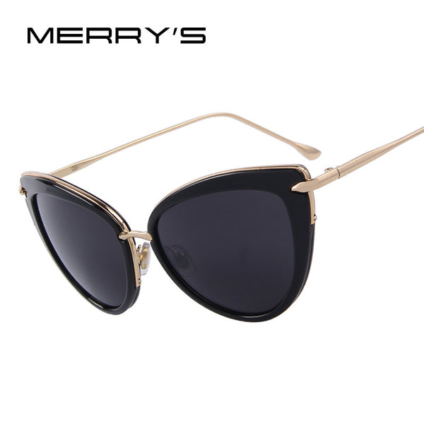 MERRY'S Fashion Cat Eye Oval Alloy Frame Sunglasses For Women